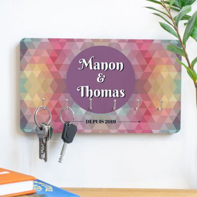 Porte-clés Mural personnalisable avec fond coloré