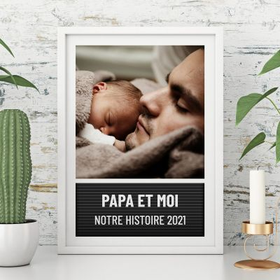 Poster style tableau à lettres avec photo et texte