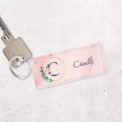 Porte-clés avec monogramme et texte