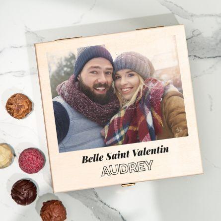 Boîte de chocolats avec photo et texte