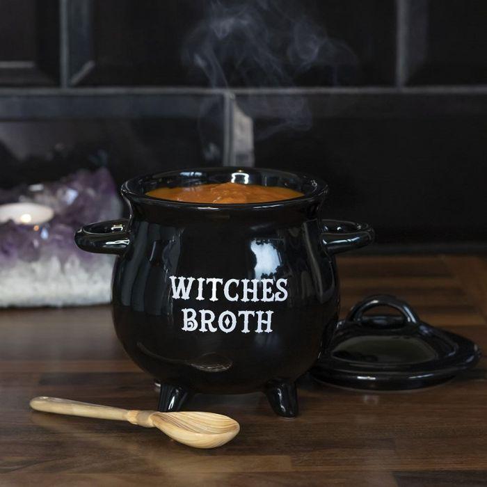 Mini chaudron de sorcière pour soupe avec cuillère