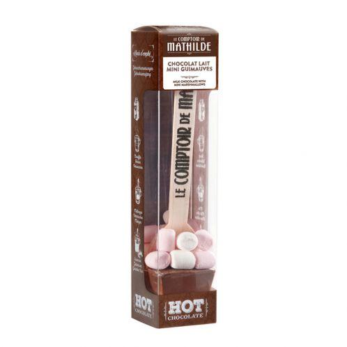Heiße Schokolade am Löffel mit Milchschokolade & Mini Marshmallows (gratis)