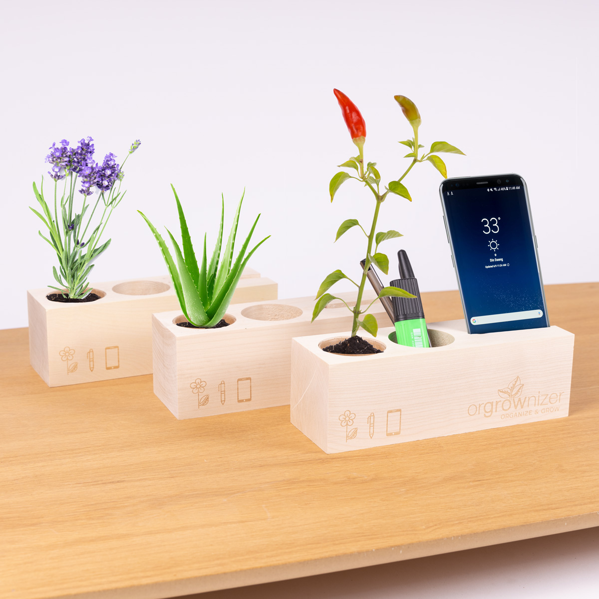 Orgrownizer - Organisateur de bureau avec plante