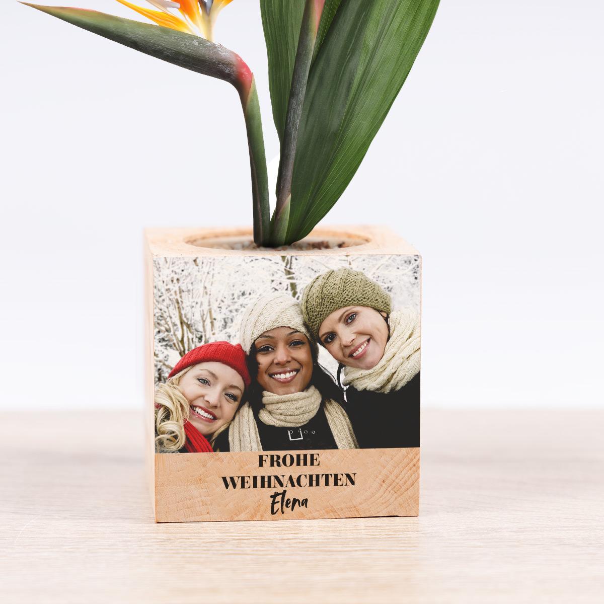 cadeau de noel ecocube plantes dans cube de bois avec grande image et texte