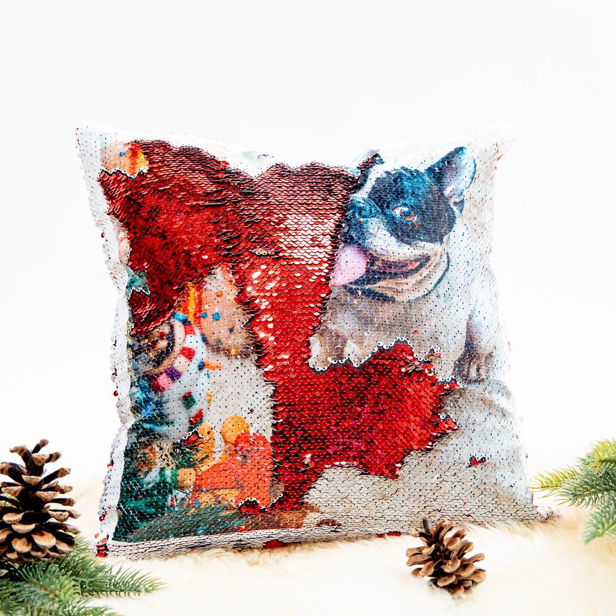 Cadeaux pour animaux Housse de Coussin Photo Personnalisable & Paillettes
