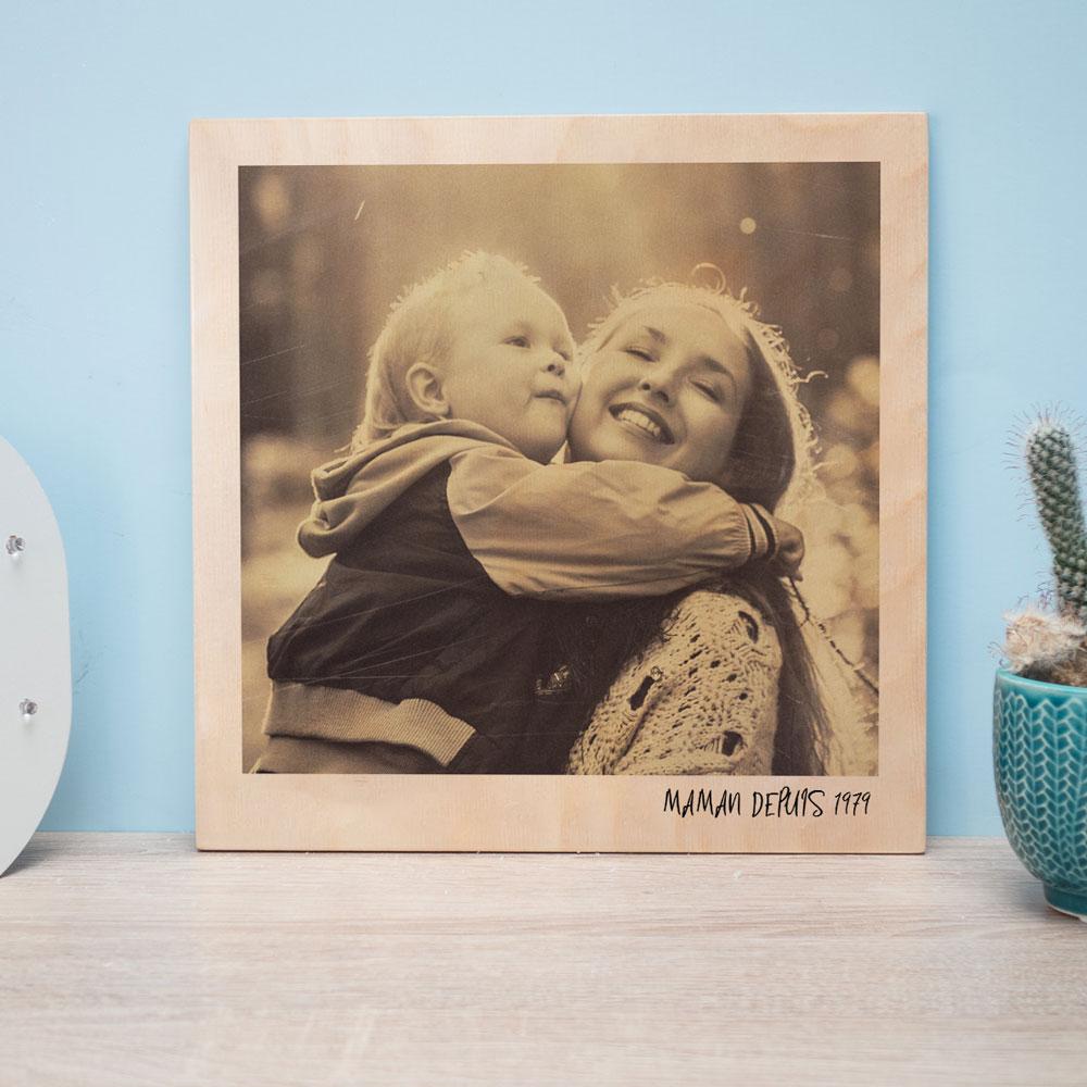 cadeau fête des Mères Photo Personnalisable sur Bois - Effet Polaroid