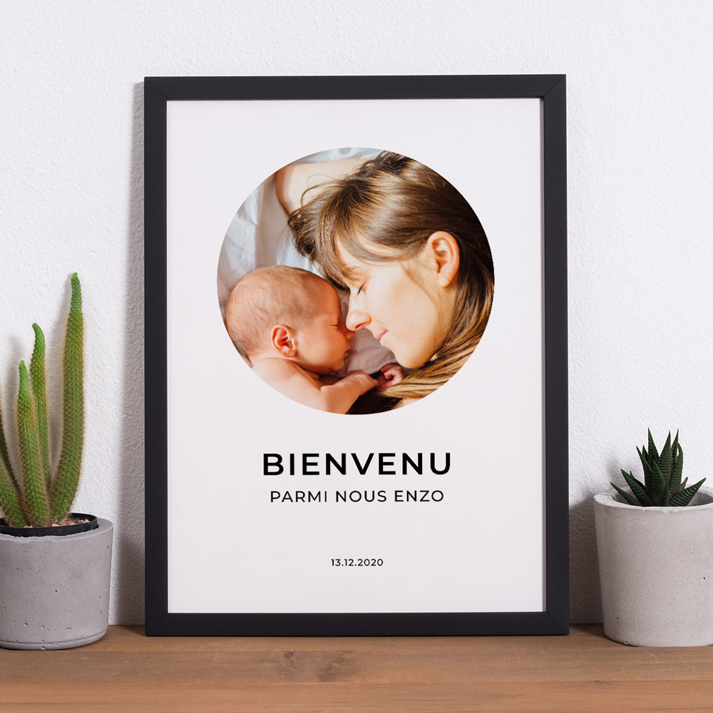 cadeau fête des Mères Poster avec photo et 3 lignes de texte