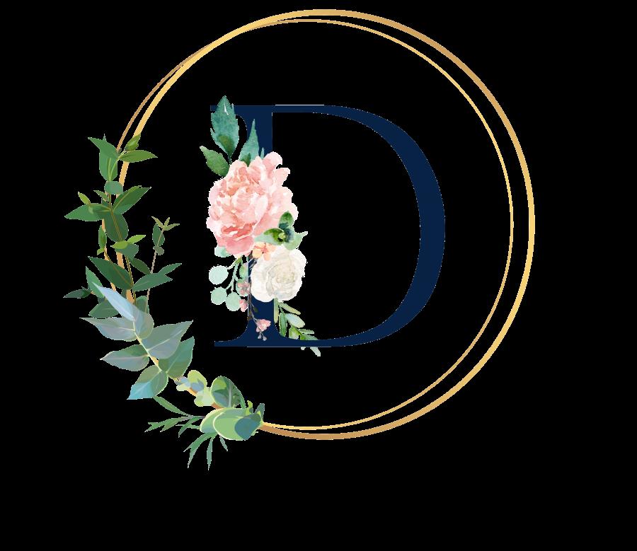 Bademantel Blumen Monogramm und Text - D