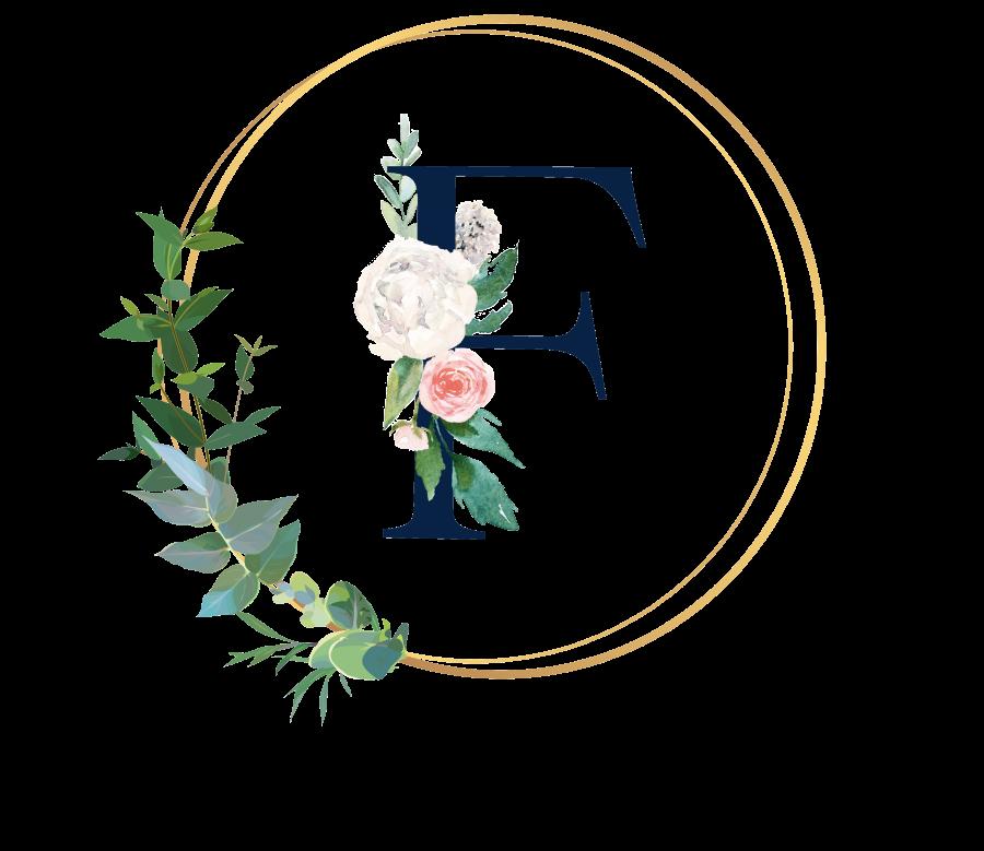 Bademantel Blumen Monogramm und Text - F