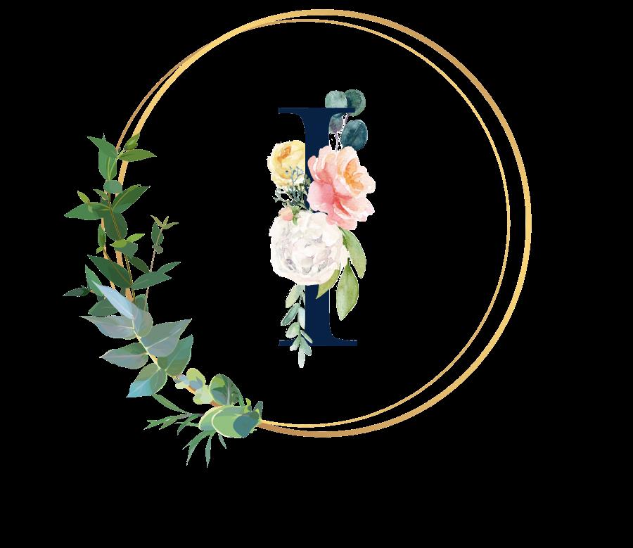 Bademantel Blumen Monogramm und Text - I