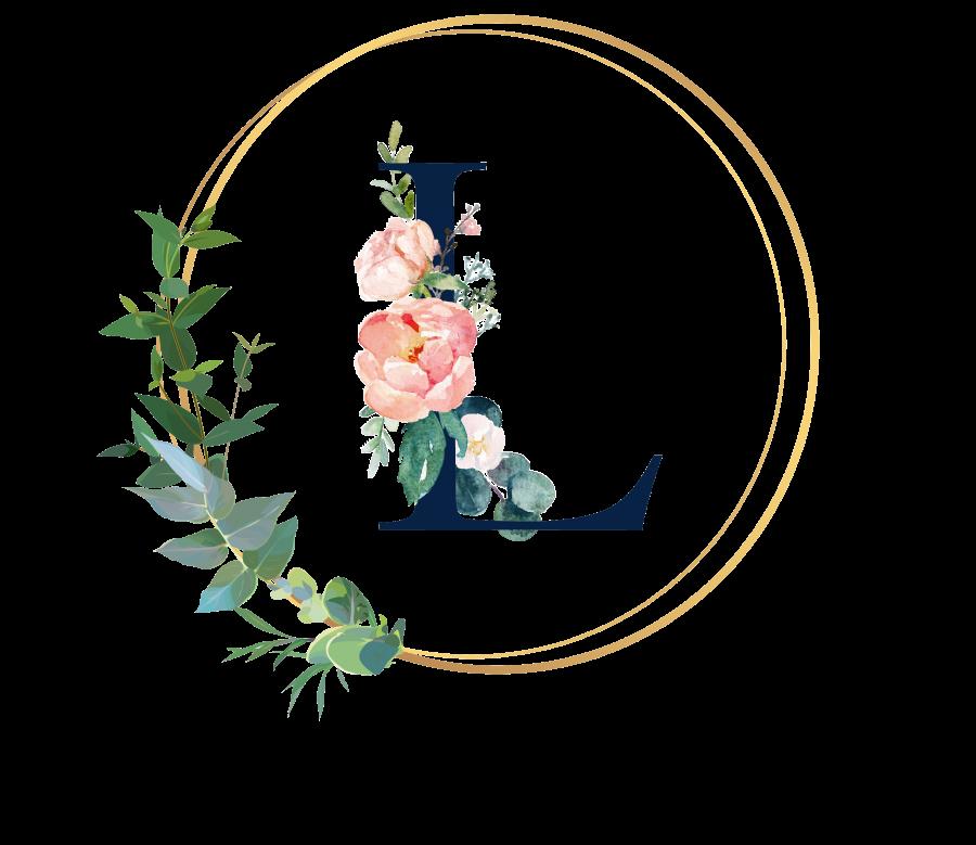 Bademantel Blumen Monogramm und Text - L
