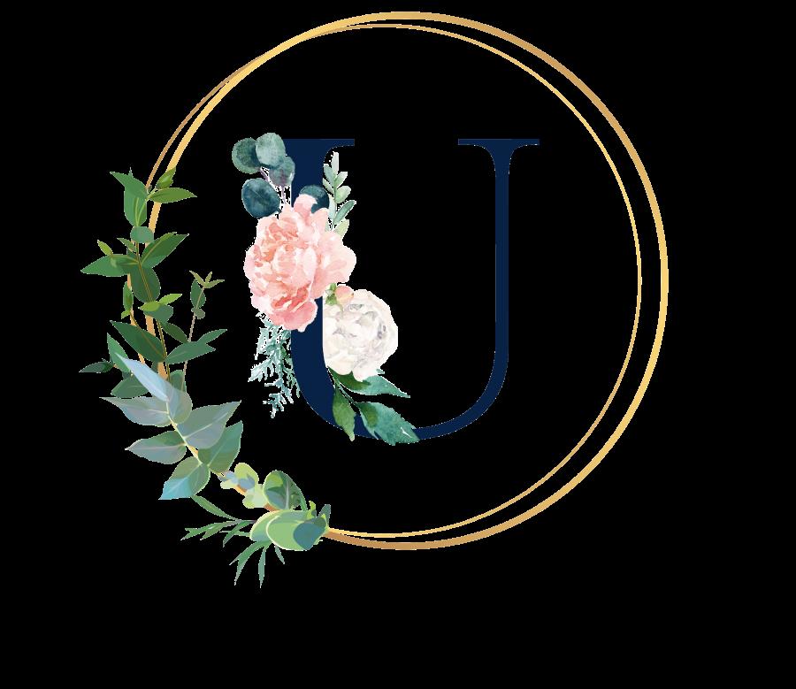 Bademantel Blumen Monogramm und Text - U