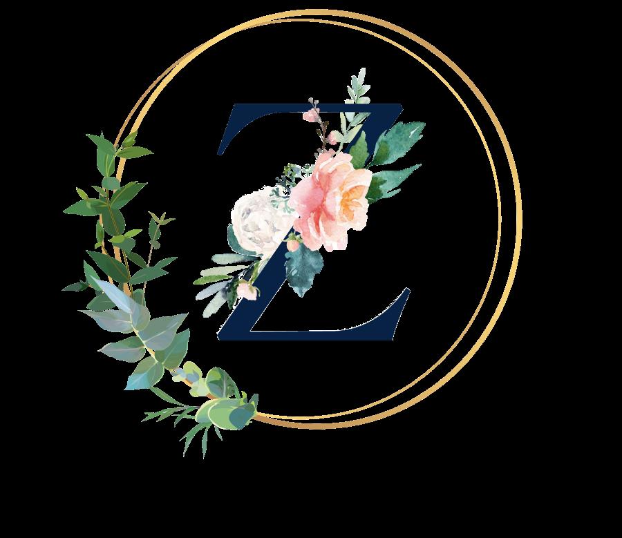 Bademantel Blumen Monogramm und Text - Z
