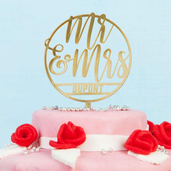 Décoration Personnalisable pour Gâteau de Mariage