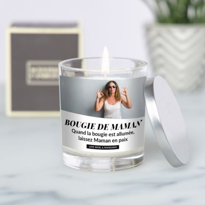 Bougie parfumée avec photo et texte