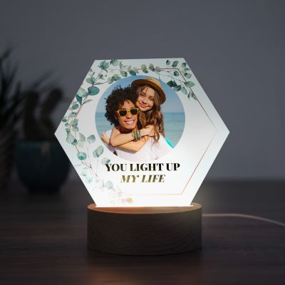 Lampe LED Hexagonale avec Photo et Texte