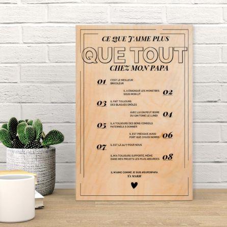 Poster en bois personnalisable - Ce que j'aime chez X