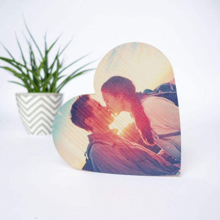Photo sur Bois en forme de Coeur