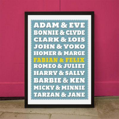 Cadeau couple - Poster personnalisable Couples Célèbres