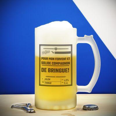 Cadeau 20 ans - Chope en verre Personnalisable