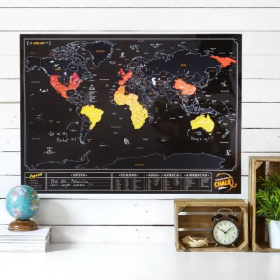 Cadeau anniversaire de mariage - Carte du monde à gratter Ardoise