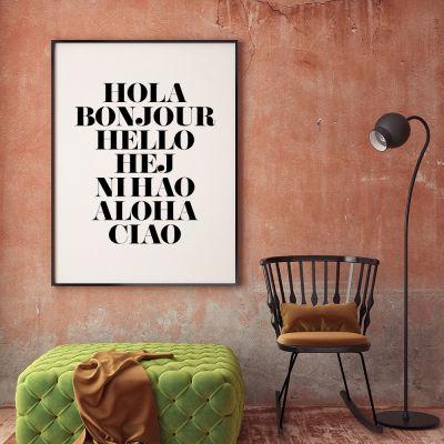 Poster - Hola Bonjour Poster par MottosPrint