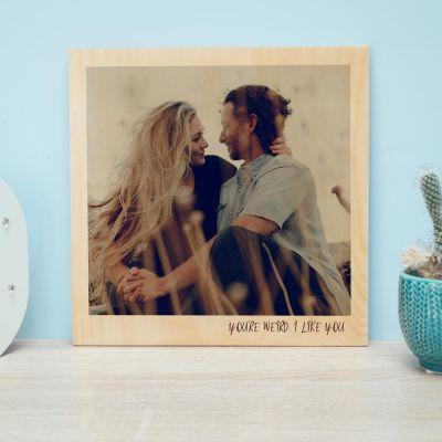 dce1756df5b8 Cadeaux pour la Fête des Pères - Photo Personnalisable sur Bois - Effet  Polaroid