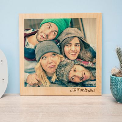Cadeau d'adieu - Photo Personnalisable sur Bois - Effet Polaroid