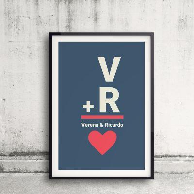 Cadeau anniversaire de mariage - Initiales - Poster personnalisable