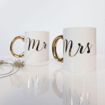 Verres & Mugs - Tasses dorées Mr & Mrs