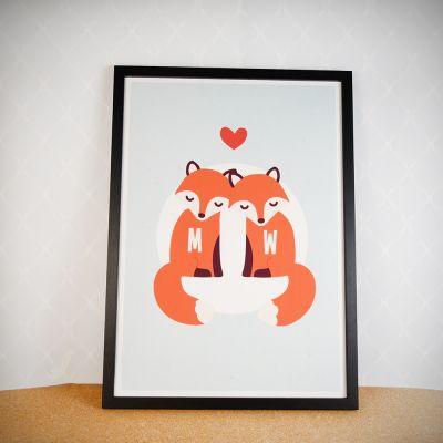 Idées cadeaux parents - Couple Renard – Poster personnalisable