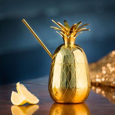 Cadeau fête des mères - Verre à cocktails en métal Ananas