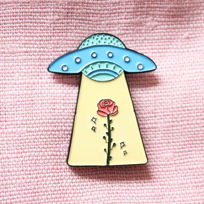 Cadeau Enfant - Pin's OVNI & Rose