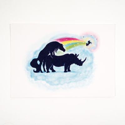 Cadeau Anniversaire Copine - Carte de vœux Rhino-corne