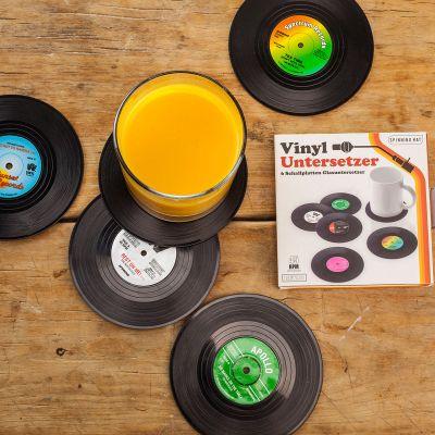 Idées cadeaux parents - 6 sous-verres vinyle Look