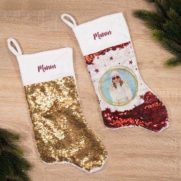 Chaussette de Noël à Paillettes avec texte et photo