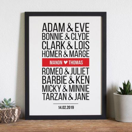 Poster Personnalisable Couples Célèbres - Version Moderne