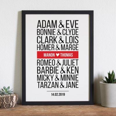 Posters exclusifs - Poster Personnalisable Couples Célèbres - Version Moderne
