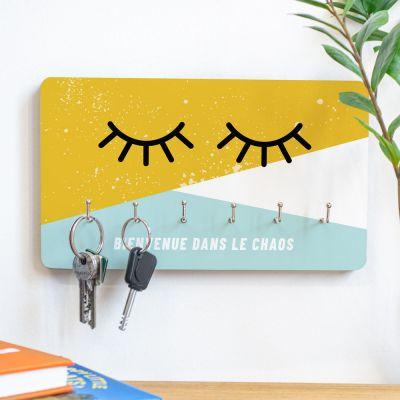 Cadeau crémaillère - Porte-clés Mural Yeux avec texte personnalisable