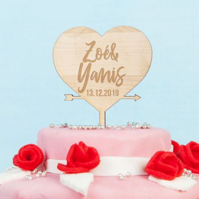 Cadeau 50 ans - Décoration Personnalisable Cœur pour Gâteau