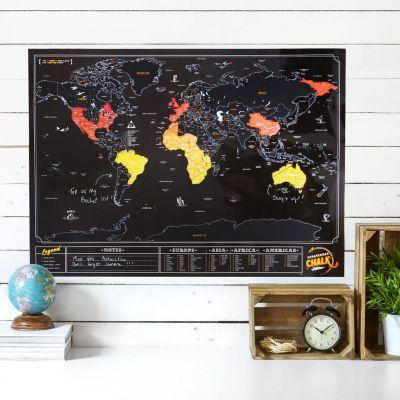 Cadeau frère - Carte du monde à gratter Ardoise