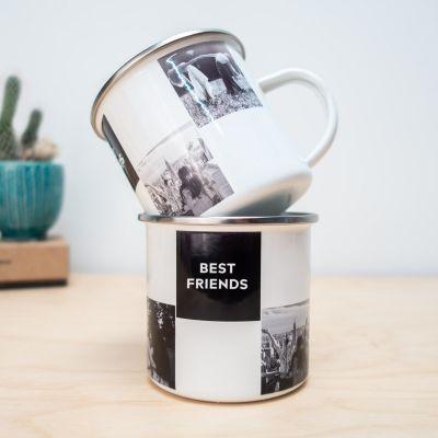 Cadeau anniversaire de mariage - Tasse en métal personnalisable avec photos et texte