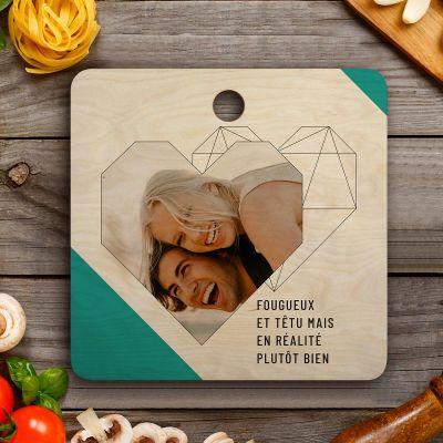 Cadeau couple - Planche à découper Personnalisable avec photo, texte et coeur