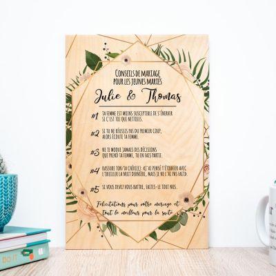 Cadeau Saint Valentin Femme - Poster en bois personnalisable avec de bons conseils