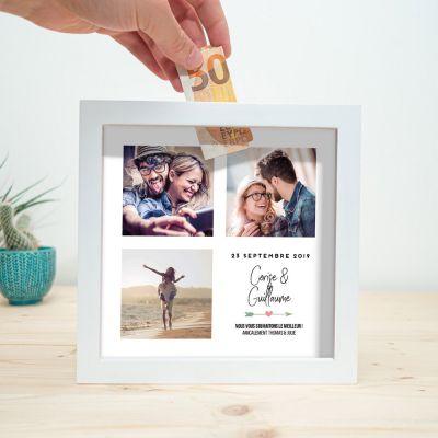 Cadeau couple - Tirelire Personnalisable pour Mariage