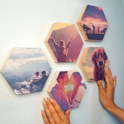 Décoration & Mobilier - Photo sur Bois en forme d'Hexagone