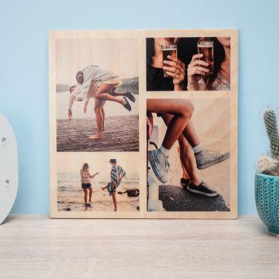 Posters exclusifs - Photo Personnalisable sur Bois - 4 Images