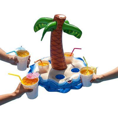 Accessoires de plage - Porte-gobelets gonflable avec palmier