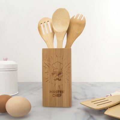 Cuisine & Barbecue - Set de Cuillères en bois Personnalisable Box Master Chef