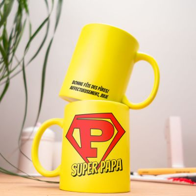 Cadeau papa - Tasse Personnalisable Néon Super Papa